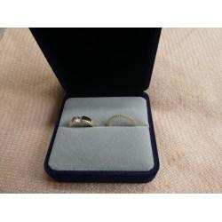 Ringendoosje kubus XL luxe 2 ringen donkerblauw grijs