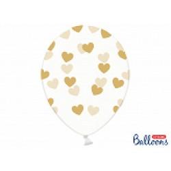 Ballonnen transparant harten goud  5 stuks