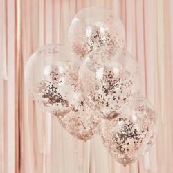 Ballonnen confetti rose goud 5 stuks