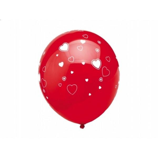 Ballonnen rood met hartjes 5 stuks