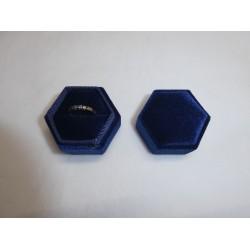Ringendoosje blauw fluweel zeshoek