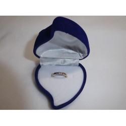 Ringendoosje hart roos blauw wit 1 ring