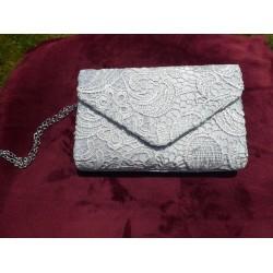 Bruidstas kant ivoor/zilver