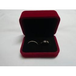 Ringendoosje rechthoek luxe 2 ringen donkerrood