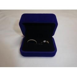 Ringendoosje rechthoek luxe 2 ringen blauw
