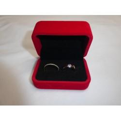 Ringendoosje rechthoek luxe 2 ringen rood
