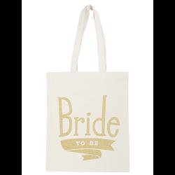 Linnen Tas Bride To Be goud