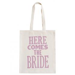 Linnen Tas Here Comes The Bride