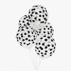 Ballonnen Stippen Black - 5 Stuks