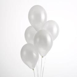 Ballonnen metallic wit  30 cm