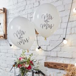 Ballonnen wit Mr & Mrs  10 stuks