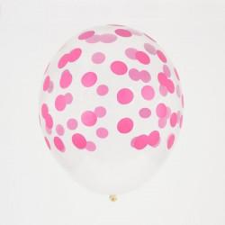 Ballonnen confetti Fuchsia  5 stuks