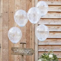 Ballonnen confetti wit 5 stuks