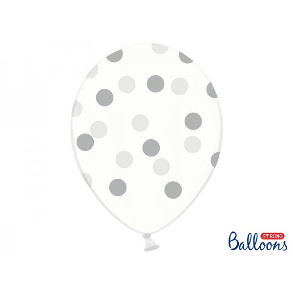 Ballonnen transparant silver dots  5 stuks