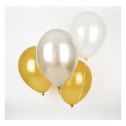 Ballonnen mix goud en zilver  10 stuks