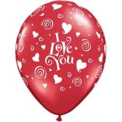 Ballonnen rood I Love You   10 stuks