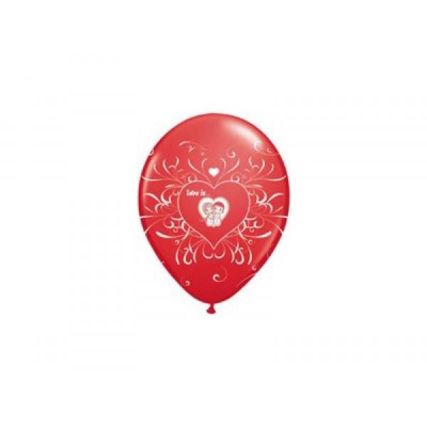 Ballonnen rood Love Is...  5 stuks