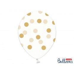 Ballonnen transparant golden dots  5 stuks