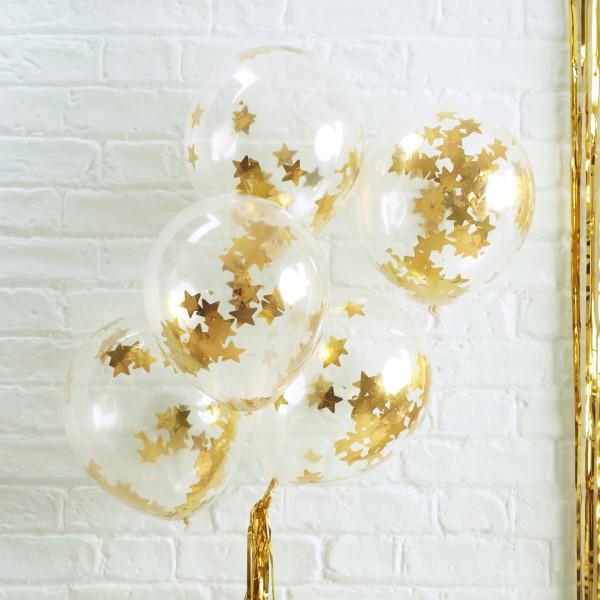 Ballonnen confetti gouden sterren