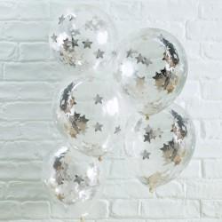 Ballonnen confetti zilver sterren 5 stuks