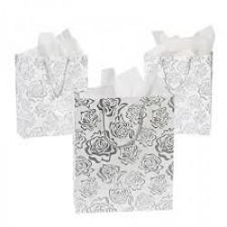 Geschenktasjes Silver Roses  6 stuks