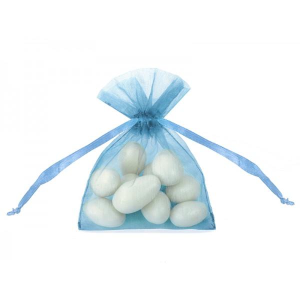 Organza zakjes lichtblauw  10 stuks