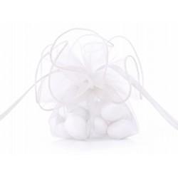 Organza zakjes luxe wit  10 stuks