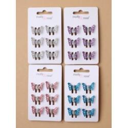 Haarklemmetjes vlinders metallic