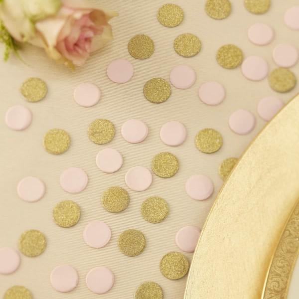 Confetti pastel roze en goud