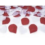 Confetti kanon witte hartjes en rode rozenblaadjes