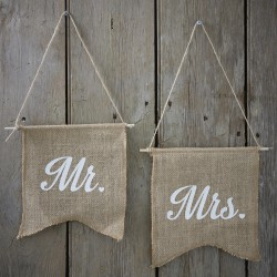 Jute vlaggen Mr en Mrs