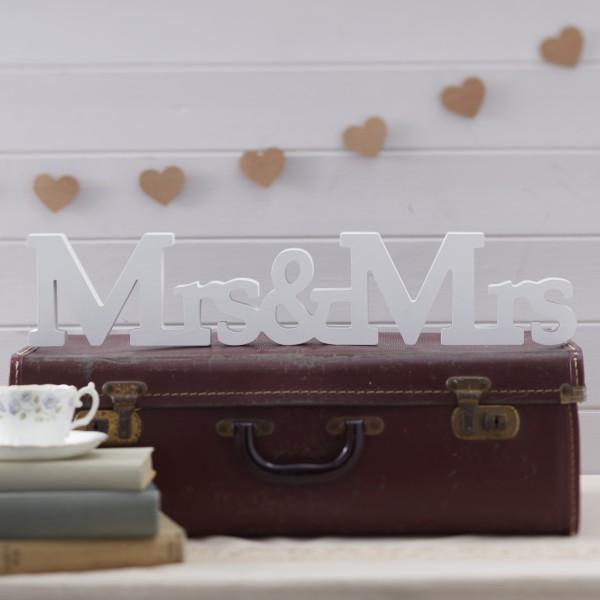 Houten letters Mrs & Mrs