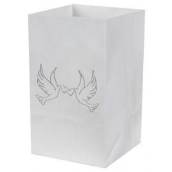 Candlebags mini witte duiven  10 stuks