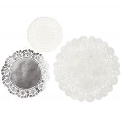 Doilies wit en zilver   24 stuks