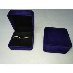 Ringendoosje kubus XL luxe 2 ringen donkerblauw