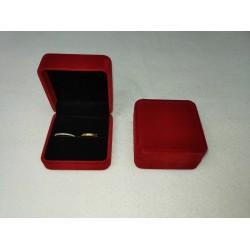 Ringendoosje kubus XL luxe 2 ringen donkerrood