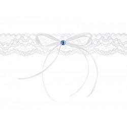 Kousenband wit met blauw steentje