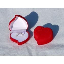 Ringendoosje hart roos rood wit