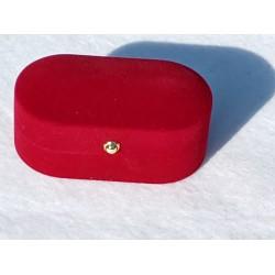 Ringendoosje ovaal rood 2 ringen
