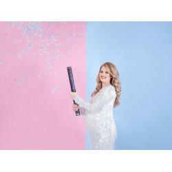 Confetti kanon genderreveal blauw