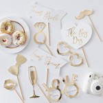Photo Booth Props  Gold Wedding