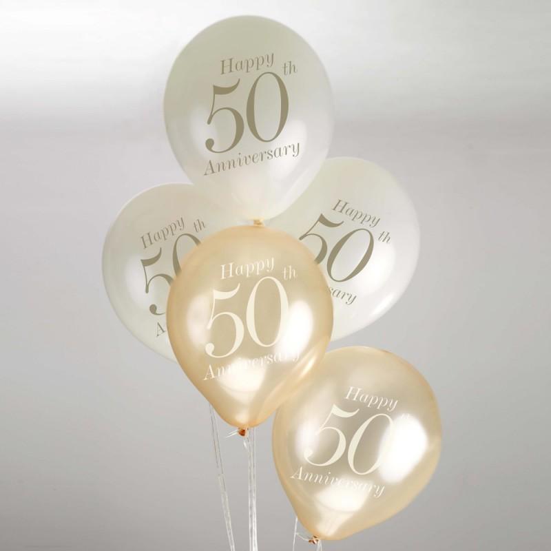 50 jaar jubileum goud Ballonnen 50 jaar jubileum 8 stuks 50 jaar jubileum goud