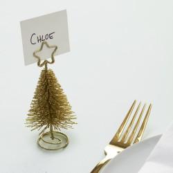 Kerstboom Kaart Houder Goud  4 ST
