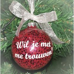 Kerstbal Wil je met me trouwen?  Rood