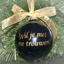 Kerstbal 'Wil je met mij trouwen?' Blauw