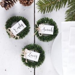 Plaatsnaamkaartjes Wreath Rustic Christmas  4ST