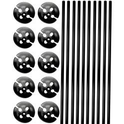 Ballonstokjes Zwart  10 ST
