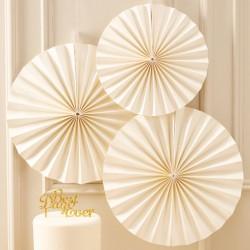 Paper fans ivoor  3 stuks