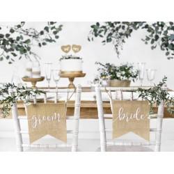 Stoelhangers Jute Bride en Groom