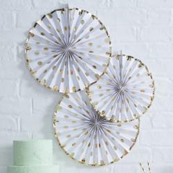 Paper fans Wit Polka Dot 3 stuks